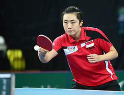February 23, 2018 - London, England, United Kingdom - Tianwei FENG of Singapore .during 2018 International Table Tennis Federation World Cup match between Tianwei FENG of Singapore  and Mengyu YU of Singapore  against Kelly SIBLEY of England  and Maria TSAPTSINOS of England  at Copper Box Arena, London  England on 23 Feb 2018. (Credit Image: © Kieran Galvin/NurPhoto via ZUMA Press)