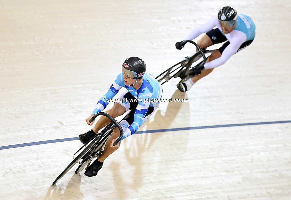 WCNI Simon van Velthooven and Auckland's Ethan Mitchell compete in the ME Men Sprint Quarter finals at the BikeNZ Elite & U19 Track National Championships, Avantidrome, Home of Cycling, Cambridge, New Zealand, Friday, March 14, 2014.  Photo: Dianne Manson / photosport.co.nz