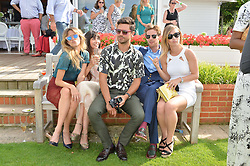 Left to right, JADE WILLIAMS, ZARA MARTIN, DOMINIC COOPER, LUKE TREADAWAY and INDIA SINCLAIR at the Audi International Polo at Guards Polo Club, Windsor Great Park, Egham, Surrey on 26th July 2014.