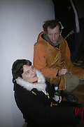 Jacquiline Genie and Mark Hammond, TWO LEGS BAD, FOUR LEGS GOOD, Jake & Dinos Chapman. PARADISE ROW, 17 Hereford Street. London E2 . 9 February 2007.  -DO NOT ARCHIVE-© Copyright Photograph by Dafydd Jones. 248 Clapham Rd. London SW9 0PZ. Tel 0207 820 0771. www.dafjones.com.
