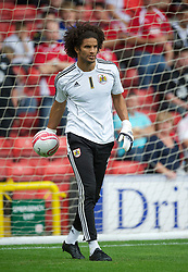 BRISTOL, ENGLAND - Saturday, August 7, 2010: Bristol City's new signing England international goalkeeper David James warms up before the League Championship match against Bristol City at Ashton Gate. (Pic by: David Rawcliffe/Propaganda)