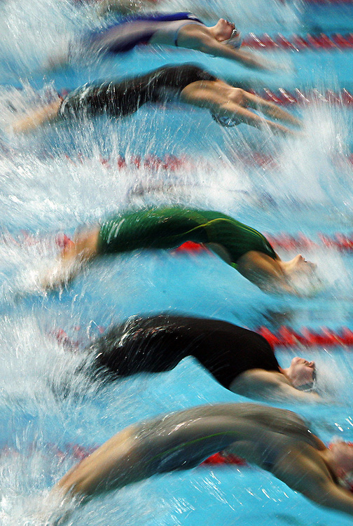 The start of the finals of the Womens's 4x100m Medley Relay at the swimming during  the Commonwealth Games in Melbourne, Tuesday, March 21, 2006.