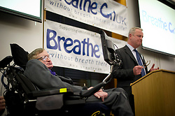 © London News Pictures. 30/04/2013. London, UK. Professor Stephen Hawking speaking at the launch of a report by the charity Breathe On UK at Portcullis House in London on April 30, 2013. Breathe On UK supports families of children on long-term ventilation. Photo credit: Ben Cawthra/LNP.