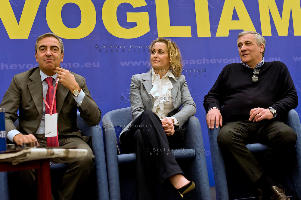 Roma, 29 Marzo 2015<br /> Convention di Forza Italia: Roma l'Italia e l'Europa che vogliamo.Maurizio Gasparri.senatore di Forza Italia, Deborah Bergamini, responsabile comunicazione di Forza Italia, Antonio Tajani ,eurodeputato di Forza Italia,  vicepresidente del Parlamento europeo.<br /> Rome, March 29, 2015<br /> Convention  of Forza Italy: Rome the Italy and Europe that we want.Maurizio Gasparri senator Forza Italy, Deborah Bergamini, communications manager of Forza Italy, Antonio Tajani, MEP Forza Italy, Vice President of the European Parliament.