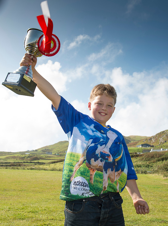 Clare Island Ram Fair &amp; Sheep Dog Trials.<br />  Dylan O'Toole with the Christy Gallagher Memorial Cup for the Overall Champion of the show. Pic: Michael Mc Laughlin