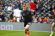 Fulham defender Tomas Kalas (26) warms up before kick off during the EFL Sky Bet Championship match between Fulham and Wolverhampton Wanderers at Craven Cottage, London, England on 18 March 2017. Photo by Andy Walter.