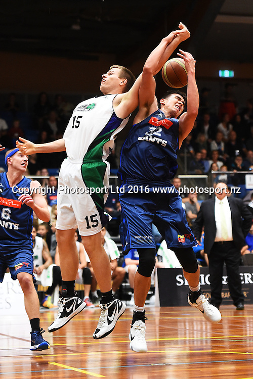 Giants player Ben Strong(L) and Waitakere player Nicholas Barrow during their NBL Basketball game Nelson Giants v Waitakere Super City Rangers at the Trafalgar Centre, Nelson, New Zealand. Saturday 16 April 2016. Copyright Photo: Chris Symes / www.photosport.nz