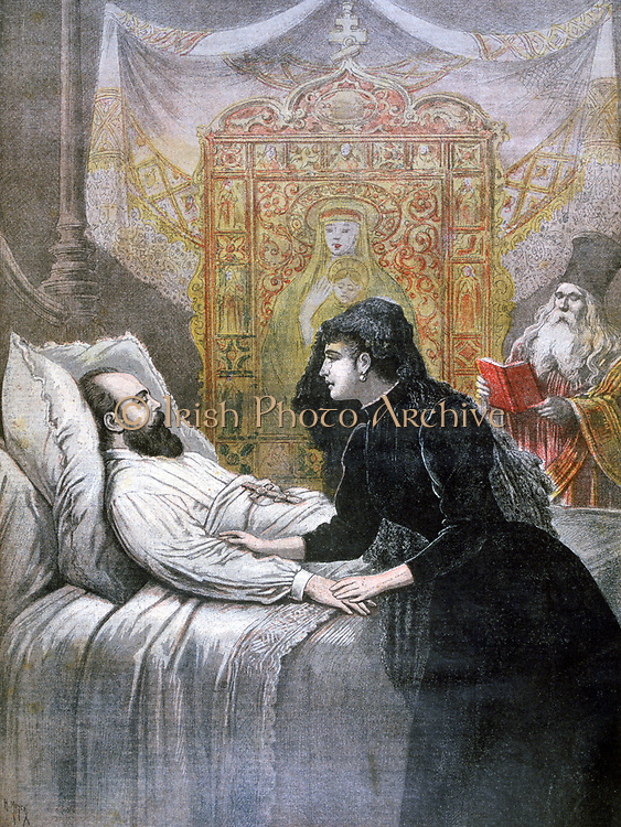 Deathbed of Tsar Alexander III of Russia (1844-1894), his consort Maria Feodorovna (Princess Dagmar of Denmark) at his side.  From 'Le Petit Journal', 11 November 1894.