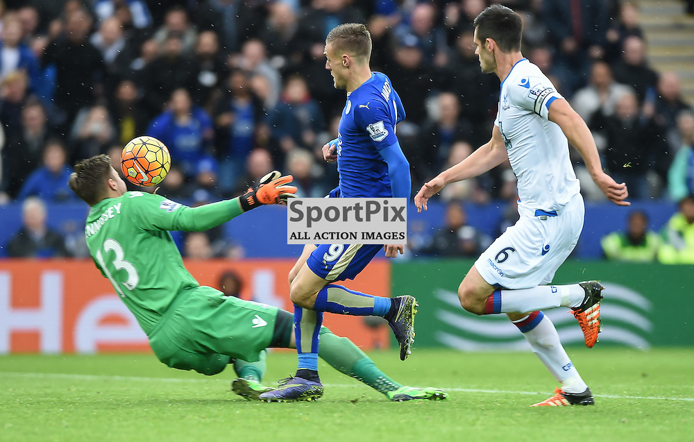 Jamie Vardy lifts the ball over the onrushing Wayne Hennessy on his way to the only goal of the match(c) Simon Kimber | SportPix.org.uk