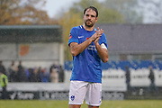 Brett Pitman of Portsmouth applauds the fans after their 4-0 win over Maidenhead United during the The FA Cup 1st round match between Maidenhead United and Portsmouth at York Road, Maidenhead, United Kingdom on 10 November 2018.