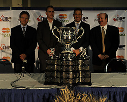 Coaches Kelly McCrimmons (left) of the Brandon Wheat Kings, Mike Williamson of the Calgary Hitmen, Bob Boughner of the Windsor Spitfires and Danny Flynn of the Moncton Wildcats at the 2010 MasterCard Memorial Cup in Brandon, MB. Photo by Aaron Bell/CHL Images