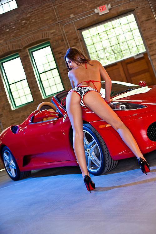 Hot Glamour Model with Ferrari