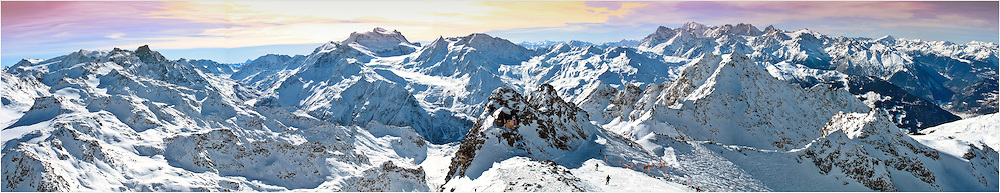 Panoramic view from the Mont-Fort, 3330m alt. Wallis, Switzerland