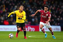 Roberto Pereyra of Watford takes on Zak Vyner of Bristol City - Mandatory by-line: Robbie Stephenson/JMP - 06/01/2018 - FOOTBALL - Vicarage Road - Watford, England - Watford v Bristol City - Emirates FA Cup third round proper