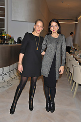 Left to right, OLIVIA NORMAN and YASMIN MILLS at a ladies breakfast hosed by At Last! held at Grace, 11c West Halkin Street, London on 29th January 2013.