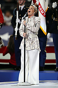 Singer Alecia Beth Moore, known professionally as Pink, sings the National Anthem before the Philadelphia Eagles 2018 NFL Super Bowl LII football game against the New England Patriots on Sunday, Feb. 4, 2018 in Minneapolis. The Eagles won the game 41-33. (©Paul Anthony Spinelli)