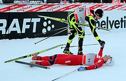 29.12.2011, DKB-Ski-ARENA, Oberhof, GER, Viessmann FIS Tour de Ski 2011, Prolog, Freie Technik/ Freistil Herren im Bild Petter Northug (NOR) im Ziel, Maurice Manificat (FRA) gratuliert ihm zum Sieg . // during of Viessmann FIS Tour de Ski 2011, in Oberhof, GERMANY, 2011/12/29 .. EXPA Pictures © 2011, PhotoCredit: EXPA/ nph/ Hessland..***** ATTENTION - OUT OF GER, CRO *****