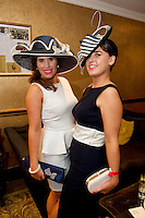 Sarah Jane Maclaverty, Roscam Galway and Olga Murray Renmore at the Best Dressed Competition at Hotel Meyrick on Ladies Day of the Galway Races,  for a best dressed competition,sponsored by Brown Thomas Galway, hosted by RTE's  Republic of Telly Star Jennifer Maguire. Photo:Andrew Downes. Photo issued with Compliments, no reproduction fee on first publication..