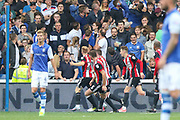 Sheffield United midfielder Mark Duffy (21) celebrates his goal during the EFL Sky Bet Championship match between Sheffield Wednesday and Sheffield Utd at Hillsborough, Sheffield, England on 24 September 2017. Photo by Phil Duncan.