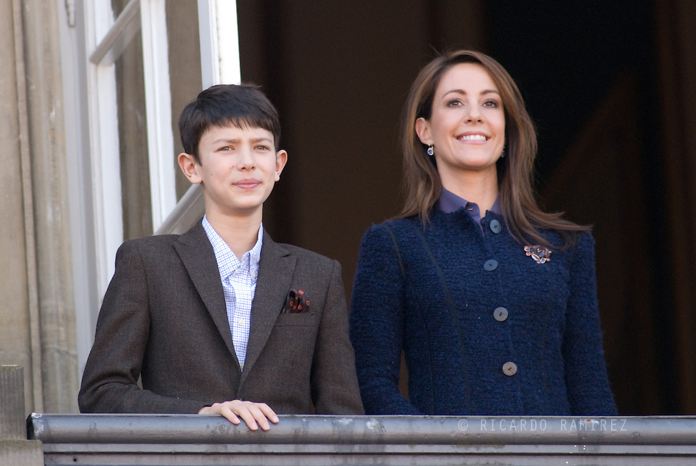 16.04.13. Copenhagen, Denmark.Queen Margrethe II celebrates her 73th birthday with her whole family, From left to right Princess Marie and Prince Nikolai, wave on the balcony of Amalienborg Palace. The royal family gathered on the balcony for the traditional birthday appearance by Queen Margrethe.Photo: © Ricardo Ramirez