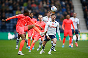 Terence Kongolo of Huddersfield Town clears the ball during the EFL Sky Bet Championship match between Preston North End and Huddersfield Town at Deepdale, Preston, England on 9 November 2019.