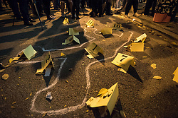 October 20, 2016 - Chicago, United States - A chalk body outliine is seen to recreate the crime scene of 17-year-old Laquan McDonald who was shot 16 times by a Chicago Police officer.  Over 200 people gathered outside Chicago Police Headquarters to commemorate the life of 17-year-old police shooting victim Laquan McDonald on the two year anniversary of his death. (Credit Image: © Max Herman/NurPhoto via ZUMA Press)