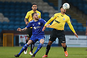 Dover Athletic forward Jamie Allen (10) and FC Halifax Town midfielder Niall Maher (31) battle for the bal during the Vanarama National League match between FC Halifax Town and Dover Athletic at the Shay, Halifax, United Kingdom on 17 November 2018.