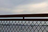 Railing on ferry, New York, USA