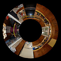 The Kitchen Before Renovation. Little Planet View (from below) of the Kitchen. Composite of 25 images taken every 15 degrees with a Fuji X-T1 camera and 16 mm f/1.4 lens (ISO 400, 16 mm, f/8, 1/60 sec), popup flash. Image processed with Capture One Pro and AutoPano Giga Pro