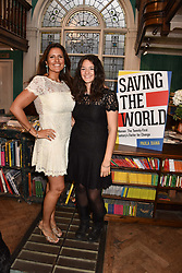 Left to right, Paola Diana and her daughter Sofia Beltrame at a party to celebrate the publication of Saving The World by Paola Diana at Daunt Books, Marylebone, London England. 2 May 2018.