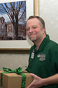 Dr. Robert Williams, a Professor and the Assistant Chair in the Department of Mechanical Engineering at the Russ College of Engineering & Technology, after receiving a gift from his mentee in the Cutler Scholar program, Devon Baum. © Ohio University / Photo by Olivia Wallace