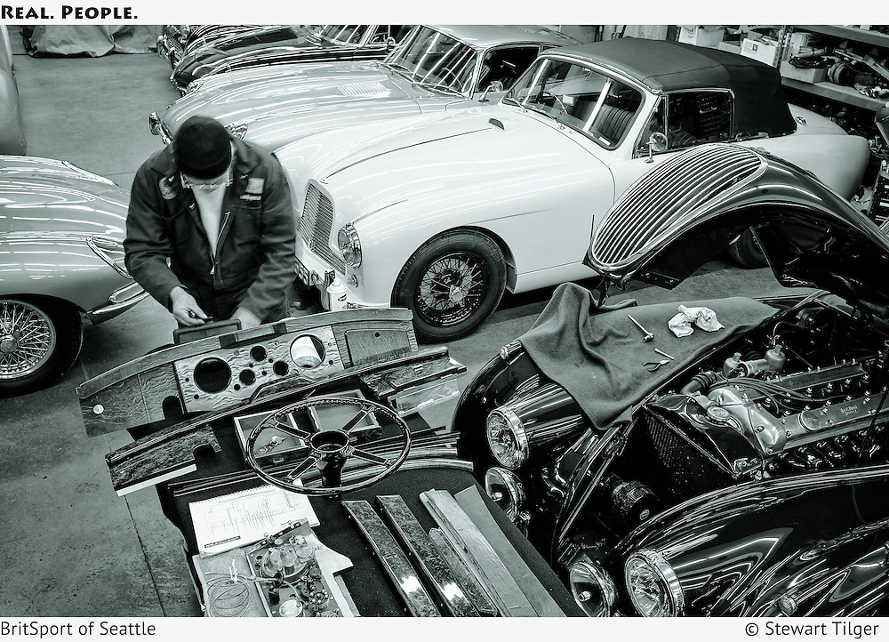 Wiring and dash woodwork on a Jaguar XK120 Coupe.