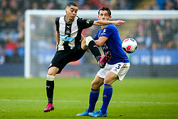 Miguel Almiron of Newcastle United takes on Ben Chilwell of Leicester City - Mandatory by-line: Robbie Stephenson/JMP - 29/09/2019 - FOOTBALL - King Power Stadium - Leicester, England - Leicester City v Newcastle United - Premier League