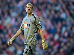 LIVERPOOL, ENGLAND - Saturday, January 30, 2010: Bolton Wanderers' goalkeeper Jussi Jaaskelainen in action against Liverpool during the Premiership match at Anfield. (Photo by: David Rawcliffe/Propaganda)