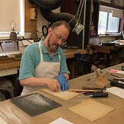 Carl Klein works on pipe organ reeds at C.B. Fisk, Gloucester, MA