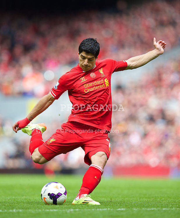 LIVERPOOL, ENGLAND - Sunday, May 11, 2014: Liverpool's Luis Suarez in action against Newcastle United during the Premiership match at Anfield. (Pic by David Rawcliffe/Propaganda)