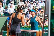 Simona Halep (rou) and Garbiñe Muguruza (esp) during the Roland Garros French Tennis Open 2018, day 12, on June 7, 2018, at the Roland Garros Stadium in Paris, France - Photo Pierre Charlier / ProSportsImages / DPPI