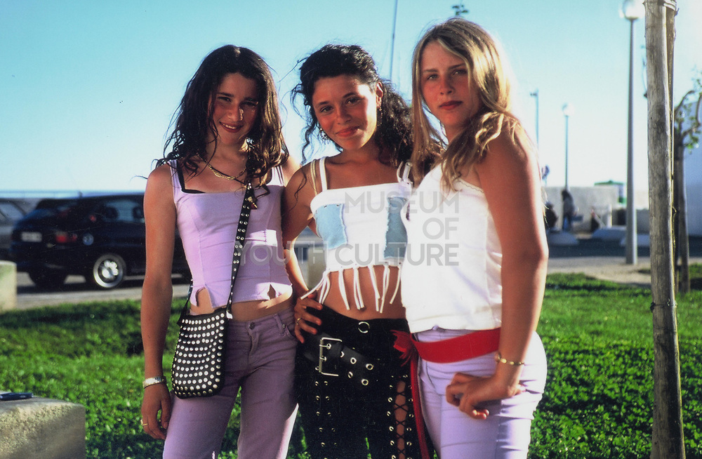 Three teenage girls at Winterbourne Travellers site, Bristol, UK, 1990's