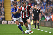 Birmingham City midfielder David Davis (26) battles with Sheffield United defender Jack O'Connell (5) 1-1 during the EFL Sky Bet Championship match between Birmingham City and Sheffield United at St Andrews, Birmingham, England on 21 April 2018. Picture by Alan Franklin.