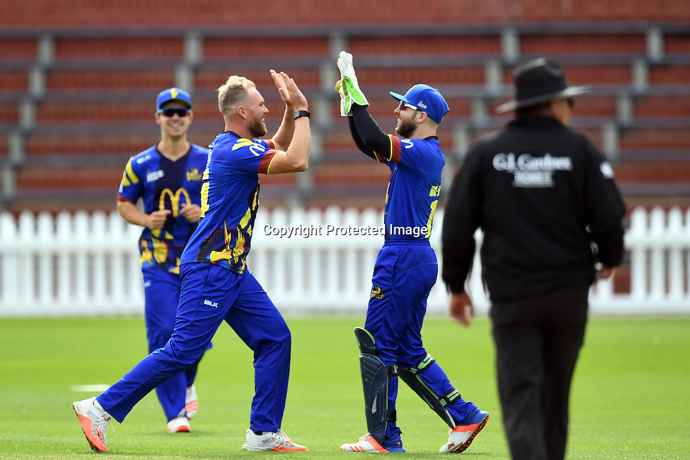 Otago Volts players celebrate a wicket during the McDonald's Super Smash, Wellington Firebirds vs Otago Volts, Basin Reserve, Wellington, Tuesday 03rd January 2017. Copyright Photo: Raghavan Venugopal / www.photosport.nz