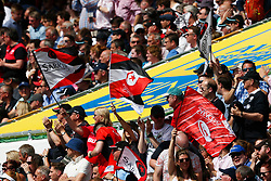 Saracens fans celebrate after Billy Vunipola of Saracens scores their first try of the game - Mandatory by-line: Ryan Hiscott/JMP - 26/05/2018 - RUGBY - Twickenham Stadium - London, England - Exeter Chiefs v Saracens - Aviva Premiership Rugby Final