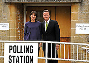 David and Samantha Cameron Vote in the Village of Spelsbury this morning.