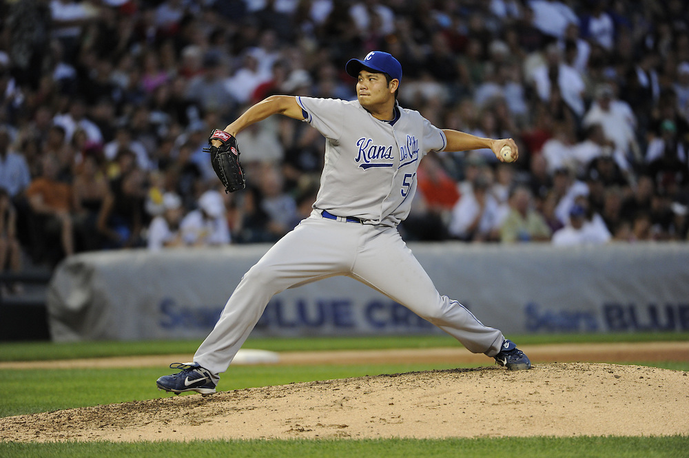 CHICAGO - JULY 09:  Bruce Chen #52 of the Kansas City Royals pitches against the Chicago White Sox on July 9, 2010 at U.S. Cellular Field in Chicago, Illinois.  The White Sox defeated the Royals 8-2. (Photo by Ron Vesely)