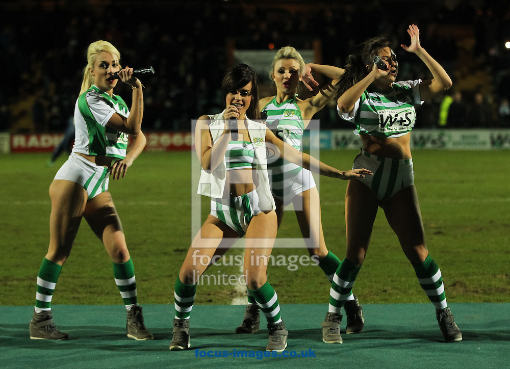 Yeovil Town's girl band Viva Pitch perform at half time during the Sky Bet Championship match at Huish Park, Yeovil<br /> Picture by Tom Smith/Focus Images Ltd 07545141164<br /> 11/02/2014