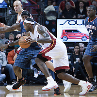 19 November 2010: Miami Heat's small forward #6 LeBron James drives past Charlotte Bobcats' small forward #3 Gerald Wallace during the Miami Heat 95-87 victory over the Charlotte Bobcats at the AmericanAirlines Arena, Miami, Florida, USA.