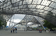Munich Olympian Stadium, Olympic Park, Munich, General View of the Stadium and park Photo Peter Spurrier<br /> Sunday 04/08/2002<br /> <br /> Olympic Stadium - Olympic Park - Munich - Germany<br /> <br /> [Mandatory Credit Peter SPURRIER/Intersport Images]