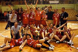 Team of Kranjska Gora celebrates at finals of Slovenian women basketball 1st league between Hit Kranjska Gora and ZKK Merkur Celje, on May 15, 2007, in Kranjska Gora, Slovenia. (Photo by Vid Ponikvar / Sportida)
