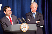 16 NOVEMBER 2009 -- PHOENIX, AZ: Phoenix Mayor Phil Gordon (CQ) LEFT and Vice President Joe Biden at the podium Monday.  Vice President Joe Biden was at Sky Harbor International Airport Monday morning to participate in a round table discussion the Obama administration's economic stimulus program.    Photo by Jack Kurtz