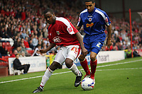 Photo: Rich Eaton.<br /> <br /> Bristol City v Crewe Alexander. Coca Cola League 1. 14/10/2006. Jennison Myrie-Williams of Bristol left and Jon Ostemobor of Crewe