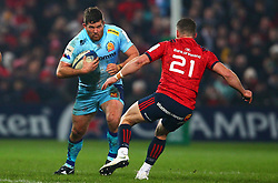 Greg Holmes of Exeter Chiefs and Alby Mathewson of Munster Rugby in action - Mandatory by-line: Ken Sutton/JMP - 19/01/2019 - RUGBY - Thomond Park - Limerick,  - Munster Rugby v Exeter Chiefs -